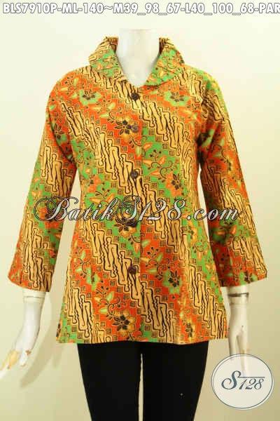 Blus Batik Elegan, Baju Batik Berkelas Pakai Ofneisel Di Krah Dan Lengan, Pakaian Batik Kerja Dan Acara Resmi Hanya 140 Ribu [BLS7910P-L]