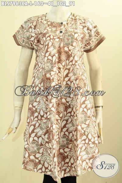 Batik Blus Keren, Pakaian Batik Warna Elegan Proses Cap Warna Alam, Hadir Dengan Desain Kancing Depan Dan Tanpa Krah Harga 160 Ribu [BLS7963CA-L]