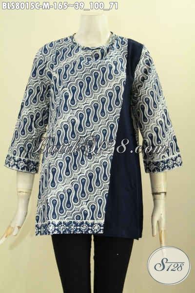 Koleksi Baju Batik Kerja Wanita 2018, Blus Modern Pias Kancing Belakang Kombinasi Polos Motif Klasik Proses Cap, Cocok Juga Untuk Acara Resmi [BLS8015C-M]