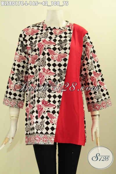 Juragan Baju Batika Online, Sedia Baju Cewek Modis Desain Keren Kombinasi Polos, Pakaian Batik Pias Masa Kini Untuk Penampilan Makin Gaya [BLS8017C-L]