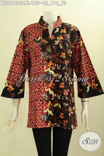 Model Baju Batik Wanita Untuk Kerja, Blus Batik Elegan Motif Bagus Proses Cap Tulis, Hadir Dengan Krah Shanghai Nan Berkelas Hanya 190 Ribu [BLS8073CT-XL]
