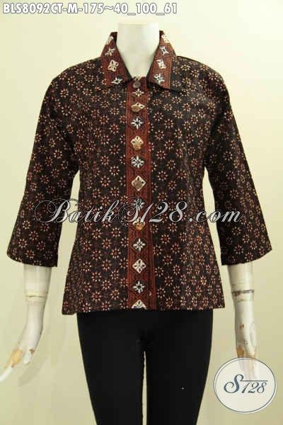 Model Baju Batik Seragam Kerja Wanita Kantoran Blus Krah Lancip