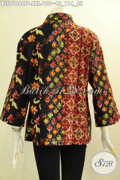 Model Baju Batik Motif Kombinasi, Busana Batik Kerja Wanita Gemuk Dengan Krah Lancip Kwalitas Istimewa Harga Biasa, Proses Cap Tulis Bahan Adem [BLS8106CT-XXL]