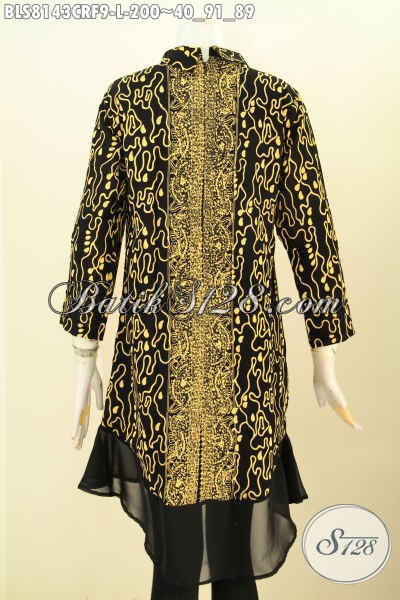 Model Baju Batik Paris Untuk Wanita Muda Dan Dewasa, Blus Krah Shanghai Motif Unik Proses Cap Daleman Full Furing Katun, Di Jual Online 200K [BLS8143CRF-L]