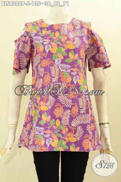 Model Baju Batik Modis Wanita Muda, Pakaian Batik Keren Warna Ungu Motif Terkini Berpadu Kancing Belakang Dan Lengan Berlubang [BLS8200P-S]