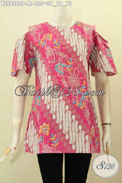 Model Baju Batik Wanita Terkini Yang Bikin Penampilan Tampil Modis Dan Feminim, Blus Batik Warna Merah Jambu Dengan Lengan Lobang Serta Pakai Kancing Belekang Berpadu Motif Klasik Printing Harga 135K [BLS8202P-M]