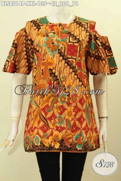 Model Baju Batik Wanita Masa Kini, Blus 3L Bahan Adem Motif Klasik Printing Kwalitas Bagus Desain Lengan Lobang Kancing Belakang, Penampilan Lebih Bergaya [BLS8214P-XXL]