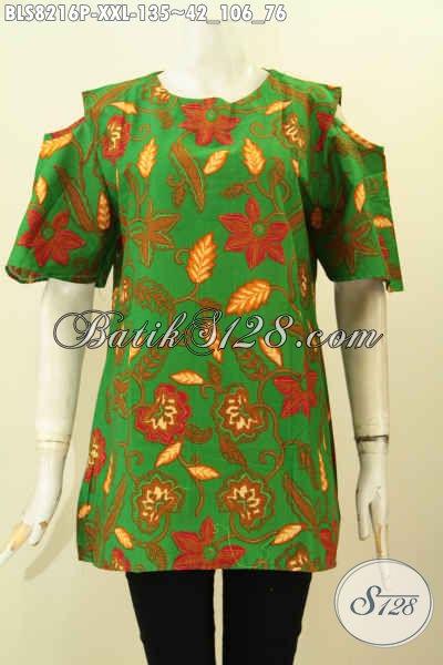 Model Baju Batik Wanita Warna Hijau, Blus Batik Solo Jawa Tengah Nan Istimewa Desain Kekinian Bahan Adem Motif Trendy Proses Printing, Bikin Penampilan Makin Gaya Ukuran 3L [BLS8216P-XXL]