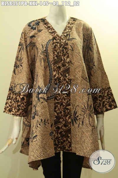 Model Baju Batik Atasan Wanita Gemuk Nan Trendy Dan Berkelas Blus Kartini Kancing Depan Kwalitas Istimewa Harga Biasa Cocok Untuk Santai Dan Resmi Bls8351pb Xxl Toko Batik Online 2020