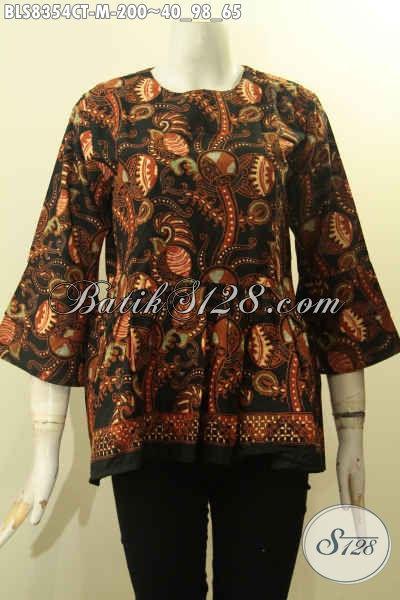 Model Baju Batik Wanita Lengan Tumpuk Dengan Kancing Belakang, Busana Batik Halus Motif Elegan Proses Cap Tulis, Penampilan Cantik Berkelas [BLS8354CT-M]