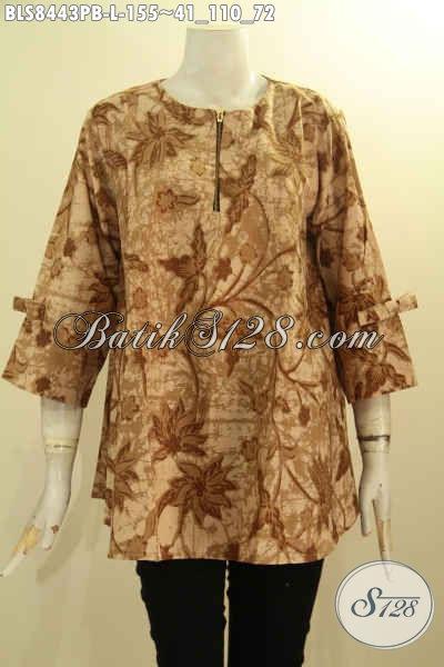 Blus Batik Wanita Model A Lengan Berpita Baju Batik Kerja Nan Modis