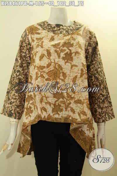 Pakaian Batik Wanita Muda, Blus Model Kancing Belakang Bagian Depan Lebih Pendek Dari Depan, Busana Batik Trendy Dengan Ka ncing Belakang Hanya 155K Motif Bagus [BLS8461PB-M]