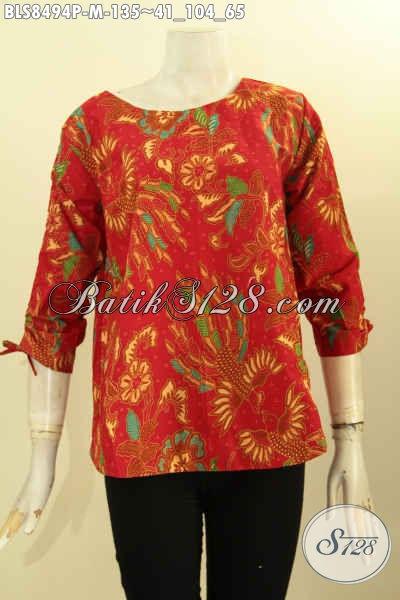 Sedia Busana Batik Atasan Untuk Wanita Muda, Blus Batik Warna Merah Desain Kancing Belakang Dan Bertali Di Bagian Lengan, Bikin Penampilan Cantik Menawan [BLS8494P-M]