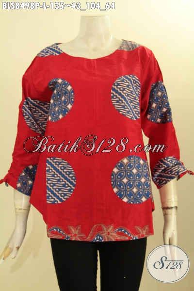 Baju Batik Blus Solo Warna Merah Motif Piringan, Pakaian Batik Modis Dengan Lengan Bertali Serta Pakai Kancing Belakang, Bahan Halus Proses Printing, Cocok Buat Jalan-Jalan [BLS8498P-L]