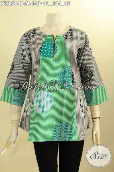 Model Baju Batik Blouse Atasan Kancing Depan Lengan 7/8, Pakaian Batik Wanita Karir Yang Menunjang Penampilan Lebih Mempesona [BLS8504P-M]