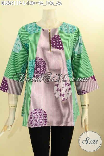 Model Baju Batik Lengan 7/8, Busana Batik Trendy Yang Membuat Wanita Terlihat Cantik Dan Keren, Bahan Adem Di Lengkapi Kancing Depan, Di Jual Online 140 Ribu Saja [BLS8511P-L]