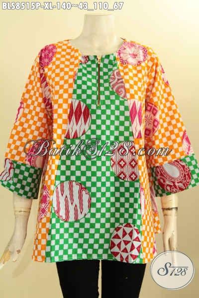 Pakaian Batik Trendy Wanita Karir, Busana Batik Modis Untuk Ibu Rumah Tangga, Hadir Dengan Lengan 7/8 Bahan Halus Motif Unik Di Lengkapi Kancing Depan Hanya 140K [BLS8515P-XL]