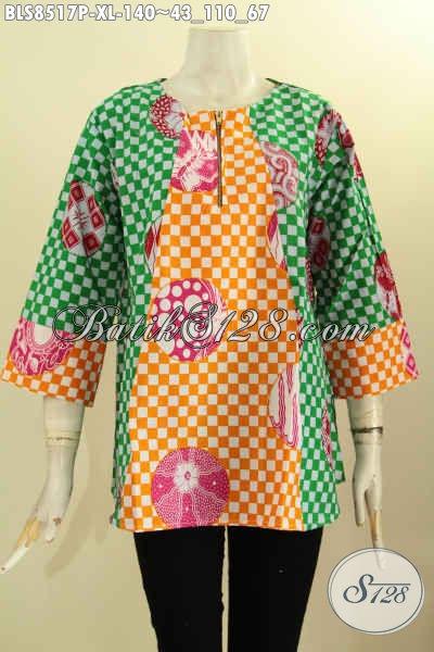 Blus Batik Motif Bagus Trendy Dan Kekinian, Pakaian Batik Wanita Masa Kini Untuk Penampilan Lebih Gaya, Hadir Dengan Lengan 7/8 Dan Kancing Depan Kwalitas Bagus Harga Terjangkau [BLS8517P-XL]