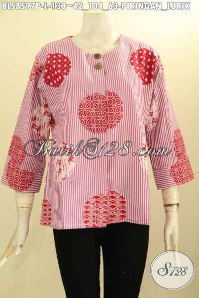 Koleksi Busana Batik Wanita Terbaru, Pakaian Batik Kemeja Cewek Tanpa Krah Motif Piringan Lurik, Busana Batik Modis Kekinian Pakai Kancing Depan, Cocok Buat Ngantor Dan Hangout