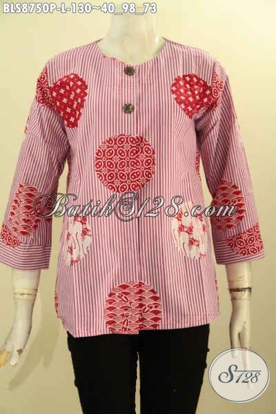 Koleksi Busana Batik Wanita Terbaru, Pakaian Batik Modis Motif Unik Lengan 7/8 Kancing Depan Tanpa Kerah, Cocok Buat Kerja Dan Jalan-Jalan [BLS8750P-L]