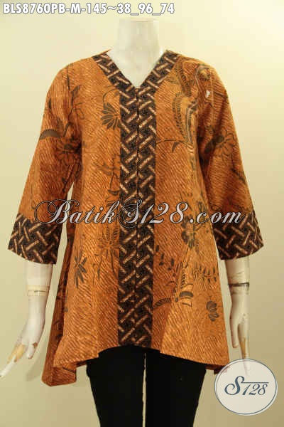 Blouse Batik Kerja Model Kutubaru Nan Berkelas, Pakaian Batik Wanita Karir Untuk Penampilan Elegan Dan Istimewa Dengan Lengan 7/8 Hanya 145K [BLS8760PB-M]