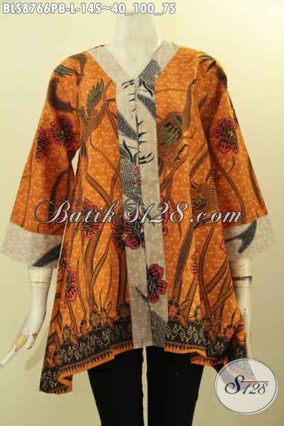 Baju Batik Atasan Wanita Kerja Model Kutubaru Lengan 7/8, Blouse Batik Solo Asli Motif Bagus Proses Printing Cabut Bahan Halus Nyaman Di Pakai [BLS8766PB-L]