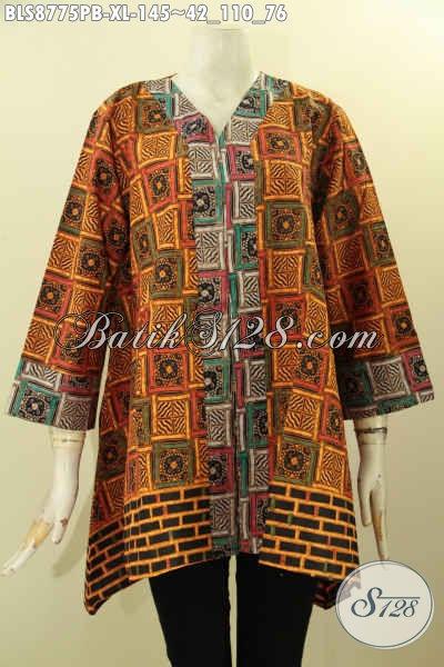 Baju Batik Wanita Masa Kini Untuk Penampilan Cantik Dan Berkelas, Blouse Batik Model Kutubaru Lengan 7/8 Motif Bagus Proses Printing Cabut Harga 145K [BLS8775PB-XL]