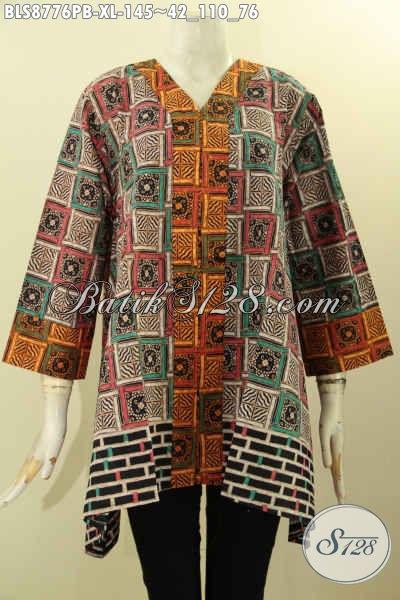 Batik Blouse Kutubaru Lengan 7/8 Motif Unik Printing Cabut, Pakaian Batik Modis Untuk Wanita Dewasa Tampil Cantik Dan Gaya [BLS8776PB-XL]