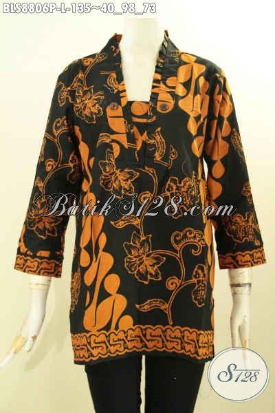 Sedia Busana Batik Blouse Model Kutubaru Untuk Acara Resmi, Pakaian Batik Wanita Lengan 7/8 Menunjang Penampilan Terlihat Elegan Berkelas [BLS8806P-L]