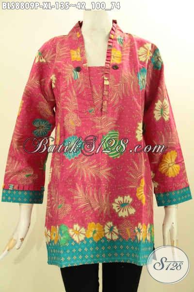 Batik Blouse Motif Bunga Lengan 7/8 Model Kutubaru Untuk Perempuan Dewasa Bahan Adem Proses Printing Kwalitas Istimewa, Bikin Penampilan Mempesona [BLS8809P-XL]