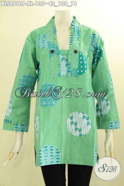 Pakaian Batik Modern Elegan Dengan Sentuhan Etnik Klasik Nan Berkelas, Busana Batik Blouse Kutubaru Lengan 7/8, Pas Banget Untuk Santai Dan Resmi [BLS8810P-XL]