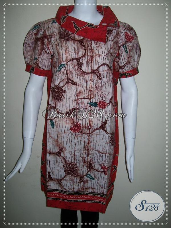 Baju Dress Batik Tulis Model Trendy Dan Elegan Untuk Wanita Aktif [DR009T-M]