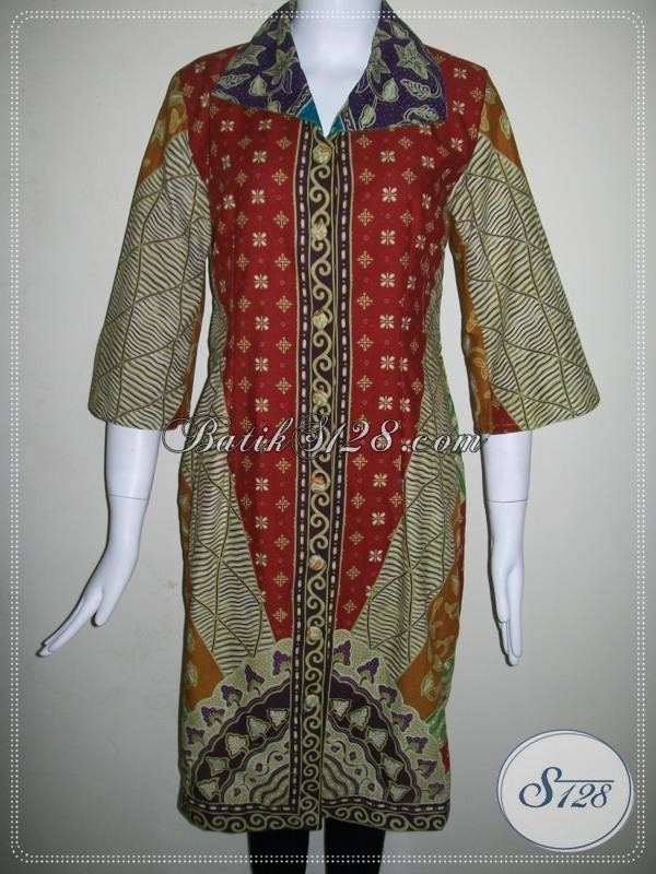 Dress Batik Tulis Asli Solo,Dress Batik Elegan Untuk Wanita Karir [DR012T-M]