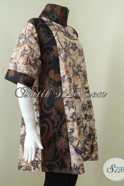 Dress BAtik Kerja Wanita Modern,Dress Bahan Berkwalitas Dan Motif Modern [DR091BT-XXL]