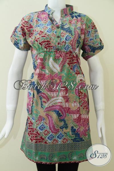 Model Trendy Batik Dress Wanita,Pakaian BAtik Wanita Model Dress Berkaret [DR124P-L]