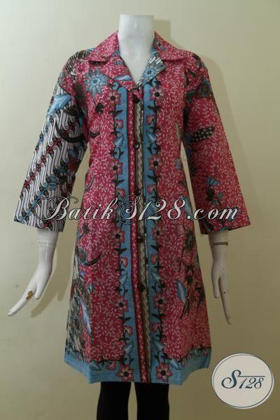 Dress Batik Dua Motif Warna Merah Desain paling Keren ...