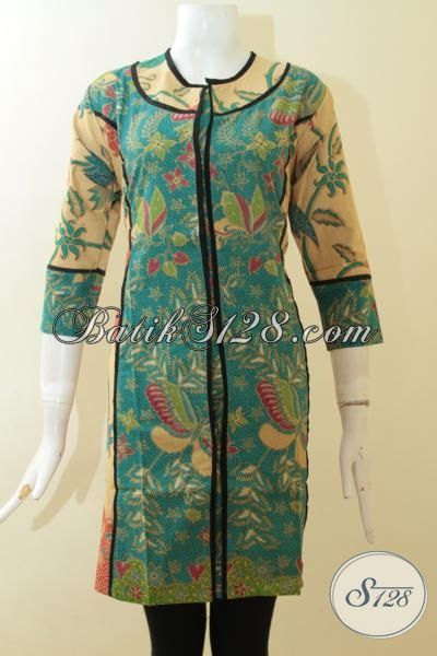 Sedia Pakaian Dress Batik Wanita Kombinasi Warna Hijau Dan Cream Proses Print Lasem, Baju Batik Model Terbaru Trend 2015 [DR2902PL-S]