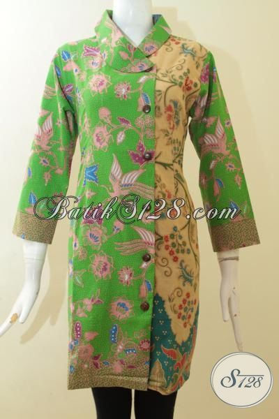 Dress Batik Modern Desain Elegan Pas Buat Seragam Kerja ...