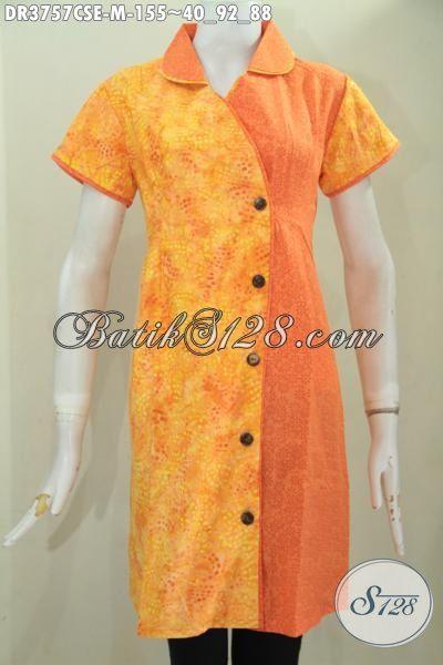 Dress Batik Dual Warna Keren Desain Terbaru, Busana Batik Cantik Lengan Pendek Modis Proses Cap Smoke Tampil Makin Mempesona [DR3757CSE-M]