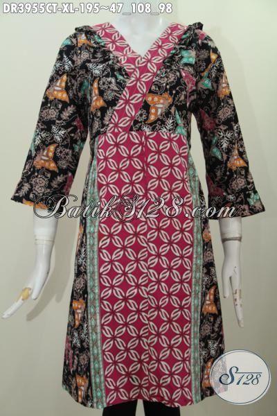 Busana Batik Wanita Dewasa Motif Kombinasi Dengan Model Terkini Yang Lebih Mewah Dan Trendy, Pakaian Batik Dress Istimewa Cocok Untuk Jalan-Jalan Dan Kerja [DR3955CT-XL]