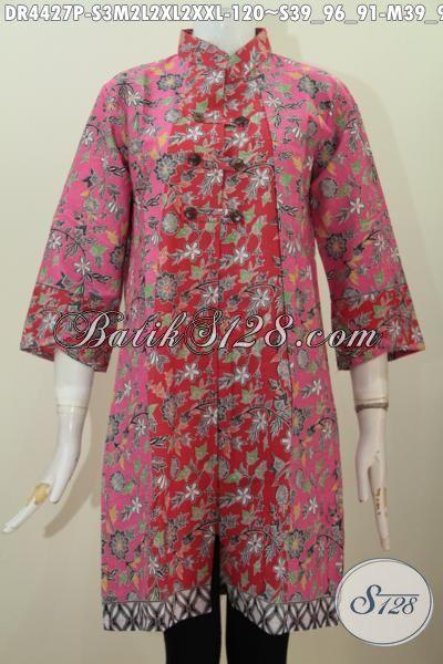 Dress Batik Printing Dengan Kombinasi 2 Motif Keren Berbahan Adem Nyaman Di Pakai, Busana Batik Kwalitas Istimewa Untuk Penampilan Lebih Sempurna [DR4427P-S]