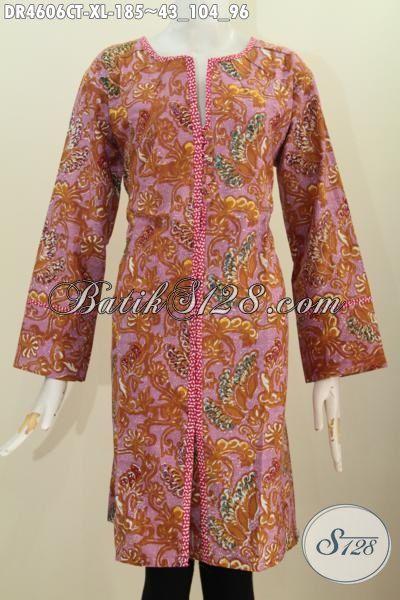 Jual Online Pakaian Dress Kancing Depan Motif Terbaru Proses Cap Tulis, Busana Batik Fashion Untuk Perempuan Dewasa Untuk Penampilan Anggun Dan Berkelas [DR4606CT-XL]