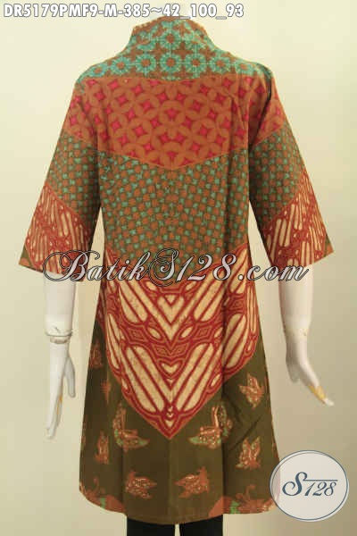 Jual Baju Batik Modern Keren Dan Elegan, Pakaian Batik Dress Mewah Model Kerah Langsung Daleman Pakai Furing BIkin Penampilan Lebih Berkelas [DR5179PMF-M]