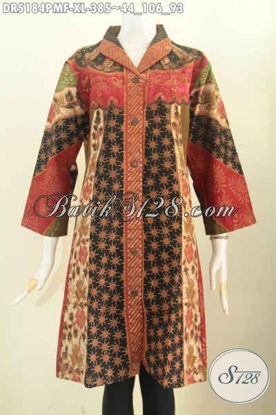 Baju batik kerja modern wanita motif sinara tampak depan