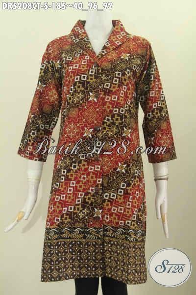Dress Batik Motif Keren Model Kerah Langsung Model Kerah Langsung Untuk Tampil Cantik Dan Anggun, Bahan Adem Proses Cap Tulis harga 185K [DR5208CT-S]