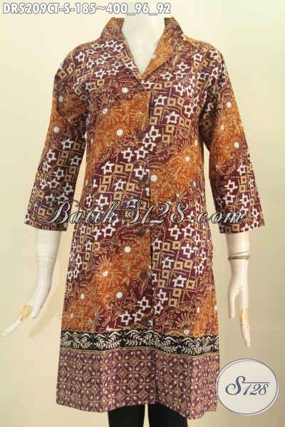 Pakaian Dress Batik Nan Istimewa Untuk Wanita Karir Usia Muda 20 Tahunan, Baju Batik Kerah Langsung Proses Cap Tulis Tampill Lebih Anggun [DR5209CT-S]