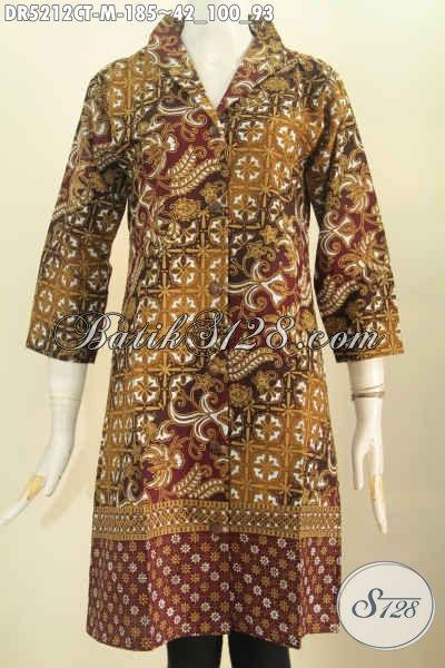 Pusat Pakaian Batik Wanita Online, Sedia Dress Kerah Langsung Kwalitas Bagus Bahan Adem Motif Mewah Proses Cap Tulis Size M 180 Ribuan [DR5212CT-M]