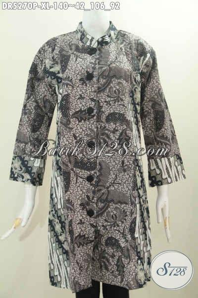 Baju Dress Motif Kombinasi Berbahan Halus Proses Printing, Baju Batik Klasik Wanita Model Kerah Paspol Shanghai Cocok Untuk Acara Formal [DR5270P-XL]