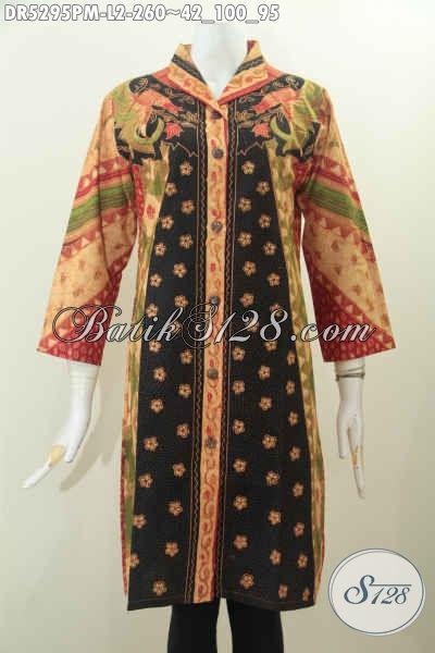 Sedia Pakaian Batik Halus Dan Elegan, Busana Wanita Batik Model Terusan Dengan Kerah Langsung Nan Istimewa Motif Klasik Kombinasi Tulis Harga 260K [DR5295PM-L]
