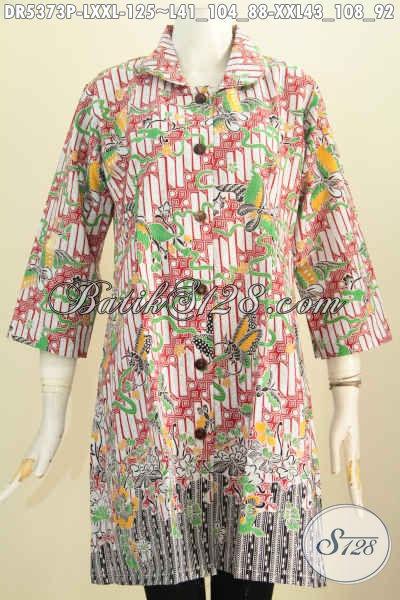 Batk Dress Krah Bulat Bahan Halus Motif Trend Terkini Harga Terjangkau, Baju Batik Solo Istimewa Untuk Wanita Tampil Gaya, Proses Printing [DR5373P-L , XXL]